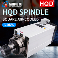 HQD GDF60 18Z 6.0 6.0KW electric spindle square air cooled high speed engraving machine spindle motor|Woodworking Machinery Parts| |  -