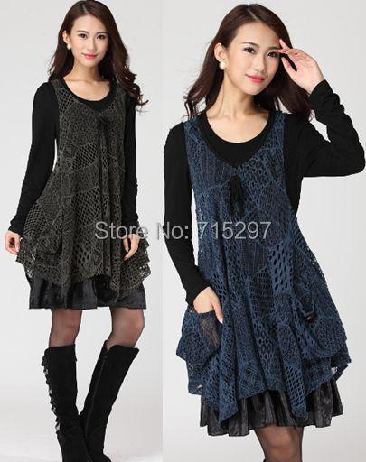 87d85d55a 2014 nuevo diseño mujeres de la manera del tamaño grande dos piezas Set  vestido de malla de algodón más tamaño manga larga suelta adelgazamiento  cómodo ...