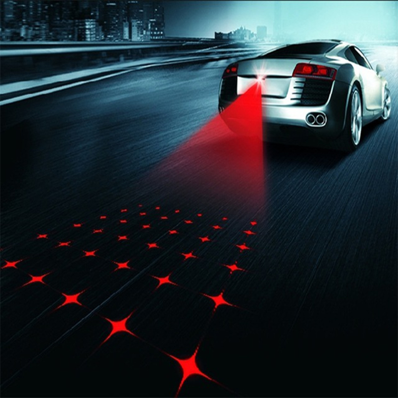 Car Anti-collision Laser Fog Light Auto Anti-fog Parking Stop Braking Signal Indicators Motorcycle LED Warning Light