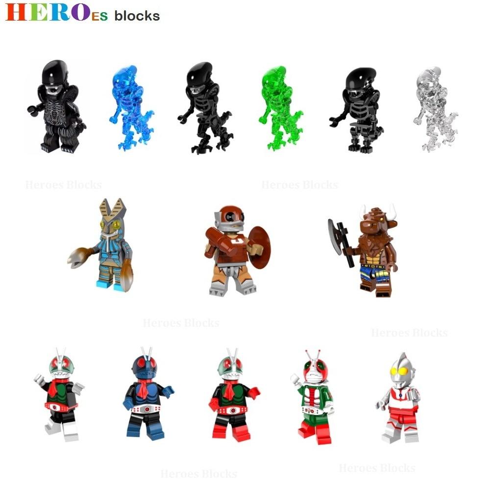 Super Heroes Alien Vs. Predator Skeleton Masked Kamen Rider Giant Monster Building Blocks Figure Bricks Toys Compatible Legoed
