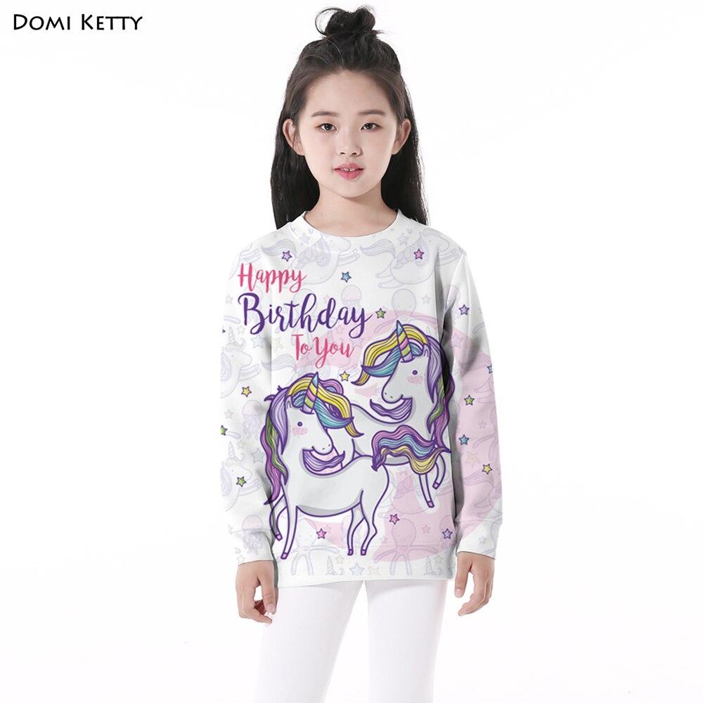 все цены на Domi Ketty kids hoodies print unicorn stars girls boys casual long sleeve sweatshirts children birthday party pullover clothes
