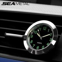 bd6dea40ed110 Seametal سيارة الديكور كوارتز ساعة الحلي السيارة السيارات الداخلية ووتش  الرقمية مؤشر تكييف الهواء منفذ مقاطع