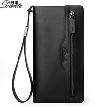 Business Style Dante Wallets Genuine Cow Leather Mens Wallet Card Holder Luxury Brand MAN Long Zipper Clutch Bag with String