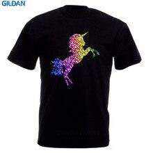 2017 New Fas hions Cool T Shirts MenS Crew Neck Short Design Gay Pride Rainbow Glitter Unicorn Lgbt