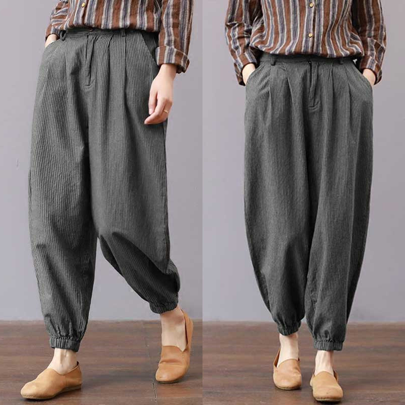 Vertical Striped Cotton Linen Harem Pants Trousers 2018 Korean Spring Autumn Loose Casual Elastic Waist Pant Ankle-Length Pants