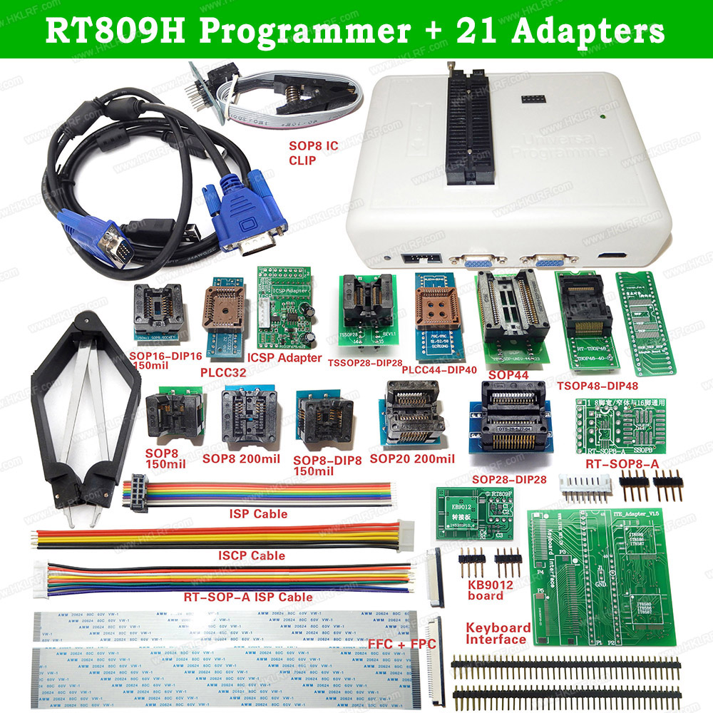 RT809H USB Universal Programmer With 21 Items EMMC-Nand FLASH Bios EEPROM Programmer Better Than TL866II Plus