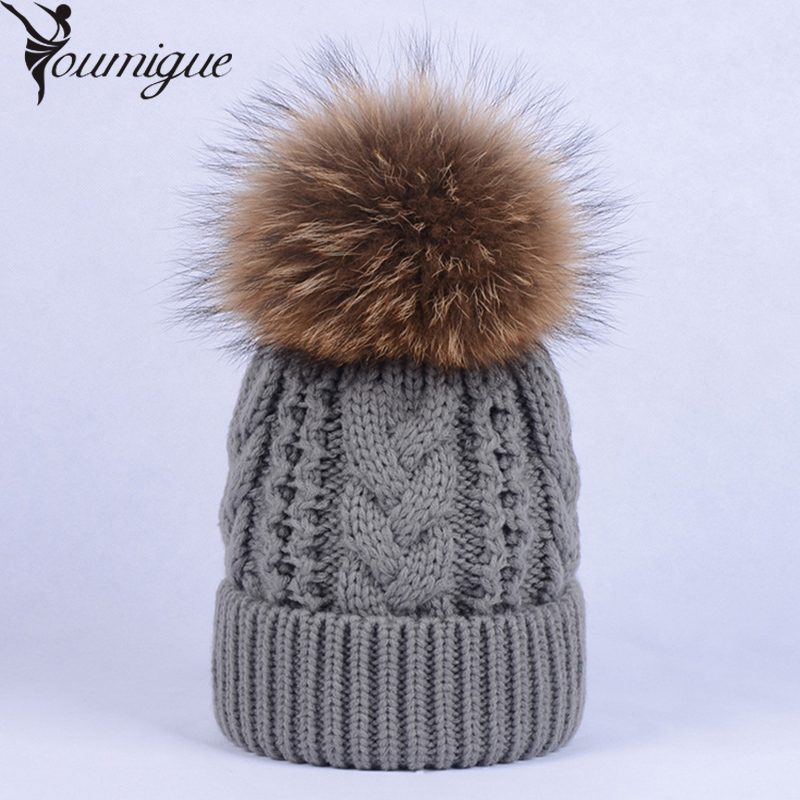 YOUMIGUE Women Beanies Raccoon Fur Pom Poms touca inverno Knitted Skullies Fashion Caps Ladies Knit Cap Winter Hats For Women