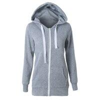 HOT SALE 2017 Hoodies Sweatshirt Ladies Women Men Coat Top NEW 2 Colors Unisex Plain Zip