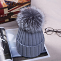 [AETRENDS] 2016 High Quality Fox Fur Beanies Pompom Women Winter Hats Knitted Cap Beanie Hat Z-3504