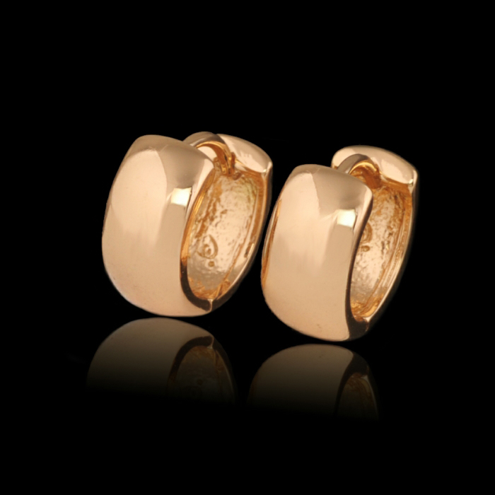 MxGxFam Smooth Hoop Earings For Women Gold Color 15x6 mm No Stone Forever Classic Style