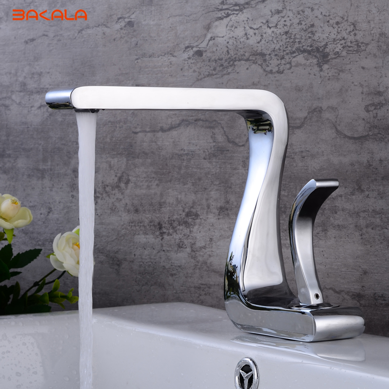 Modern washbasin design Chrome finished Bathroom faucet mixer waterfall Hot and Cold Water taps for basin