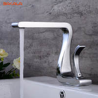 BAKALA Modern Washbasin Design Chrome Finished Bathroom Faucet Mixer Waterfall Hot And Cold Water Taps For