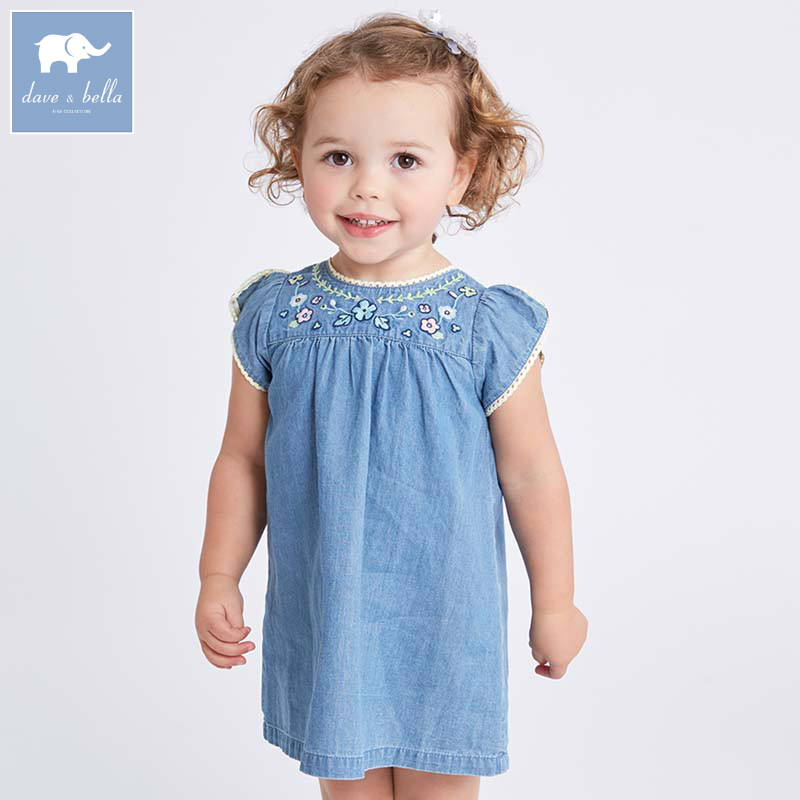 Dave bella baby girls dress toddler summer denim clothing children party clothes kids sleeveless dresses DB7032 summer girls dresses denim dresses for girls vestido infantil coat denim baby dress 2pcs set with belt toddler party clothes
