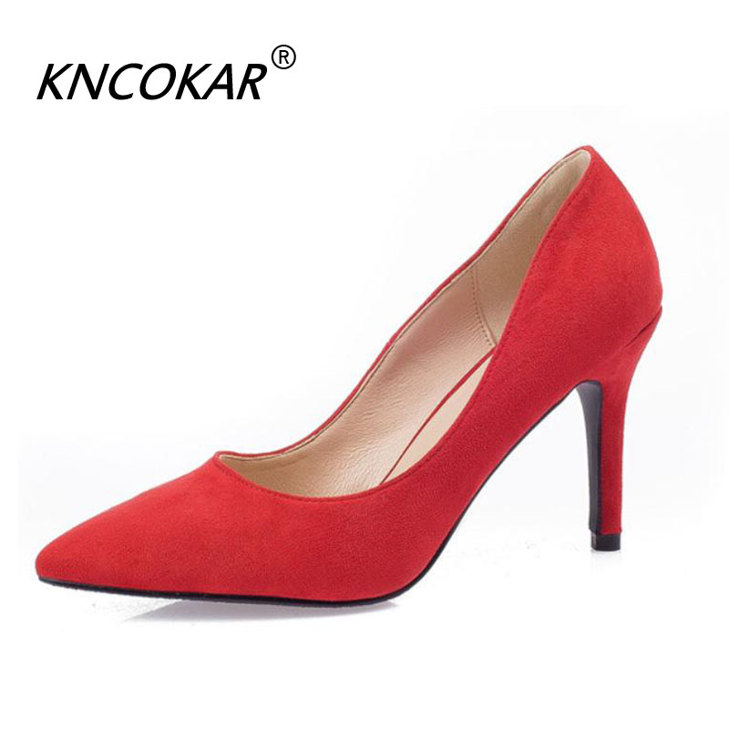 KNCOKAR Four Seasons New Pointed Stiletto Heels Shallow Mouth Suede Casual Womens Shoes Pure Color Size 41-43KNCOKAR Four Seasons New Pointed Stiletto Heels Shallow Mouth Suede Casual Womens Shoes Pure Color Size 41-43