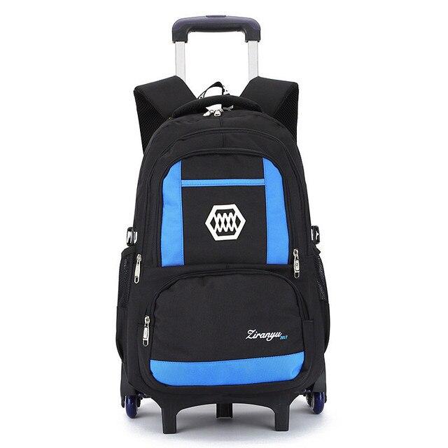 2 6 Wheels Boys Trolley Backpack Wheeled School Bag Children Travel Luggage Suitcase On