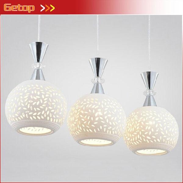 Best Price Modern Minimalist White Ceramic Pendant Lights Three LED Pendant Lamp Creative Restaurant Bar Table