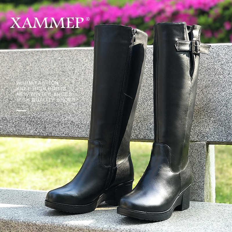 ยี่ห้อผู้หญิงฤดูหนาวรองเท้าหนังแท้สตรีฤดูหนาวขนสัตว์ธรรมชาติ Warmful คุณภาพสูงเข่ารองเท้าบูทสูง