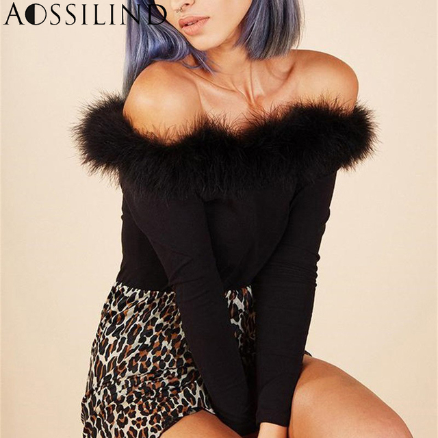 b08111443f AOSSILIND Sexy Black Faux Fur Skinny Bodysuit Women Autumn Winter Long  Sleeve Off Shoulder Party Club Bodysuits Women