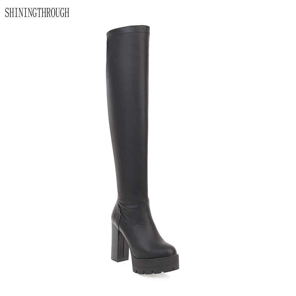 New women boots winter knee high boots woman sexy party dress shoes woman high heels boots platform women shoes large size 34-43