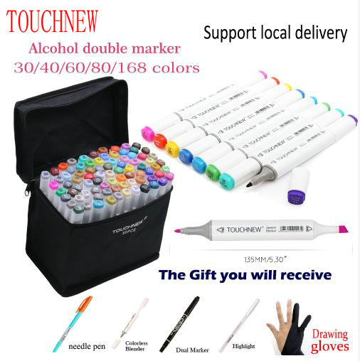 TOUCHNEW 168 Colors Dual Head Marker Set Animation Manga Design School Drawing Oily Alcoholic Marker Sketch Pen Art Supplies touchnew 80 colors artist dual headed marker set animation manga design school drawing sketch marker pen black body