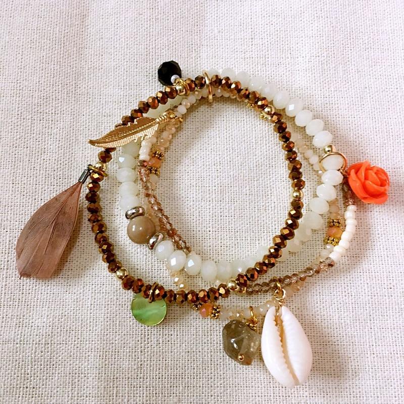 Dongmu Jewllery New 2017 Hand-made Shell Crystal Bracelet Bead Bracelets Stretch Combination For Women Charm Bracelets Classic