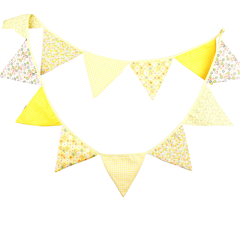12 Flags 3.2m Yellow Cotton Fabric Bunting Pennant Flag Banner Garland Wedding/Birthday/Baby Show Party Decorative Props