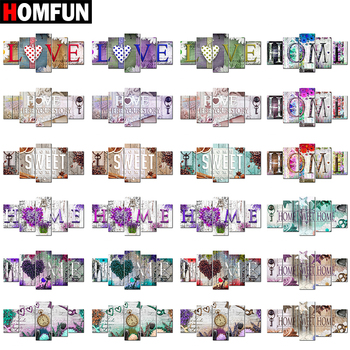 HOMFUN 5pcs Full Square/Round Drill 5D DIY Diamond Painting Home Sweet Multi-picture Combination Embroidery Decor
