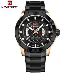 Image 2 - 最高級ブランドメンズ腕時計naviforce男性フルスチール日付防水スポーツメンズアーミーミリタリークォーツ腕時計時計リロイhombre