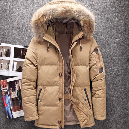 Winter Big Genuine Fur Hood Duck Down Jackets Men Warm High Quality Down Coats  Male Casual Winter Outerwer Down Parkas JK-633