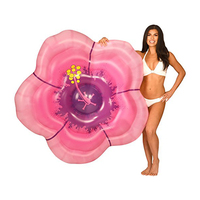 Inflatable Hibiscus Flower Pool Float for Women Girls Summer Beach Water Floating Row Pink INS Style Swimming Raft Air Mattress