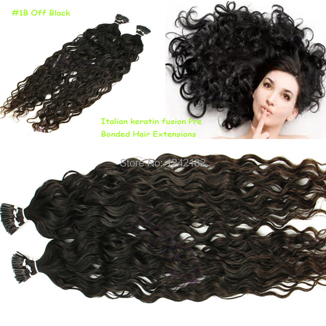 Indian Remy Human Hair Pre Bonded I Tip Deep Curly Italian Keratin
