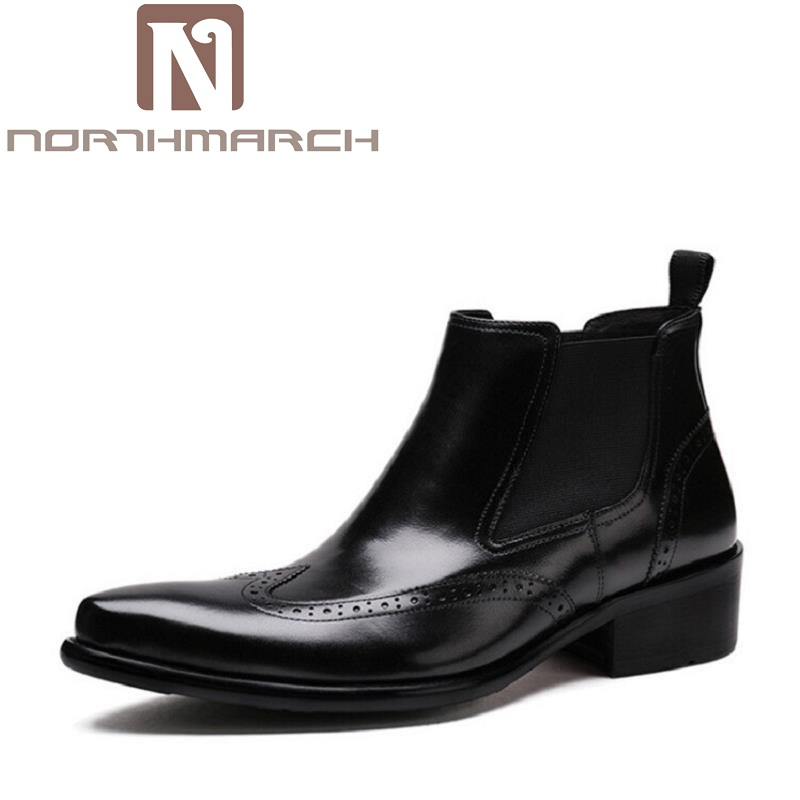 NORTHMARCH Men Ankle Boots Spring/Autumn Comfortable Footwear Genuine Leather Mens shoes Lace Up Casual Business Boot Flat Shoes unisex boots men canvas shoes women ankle boot spring outdoortravel mountaineering camping casual shoe breathable lovers boots