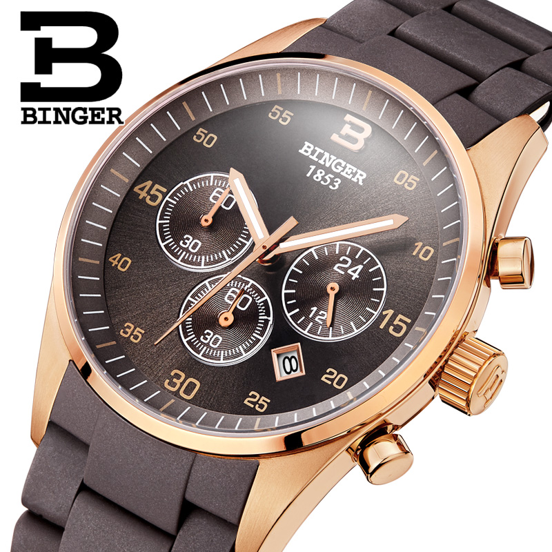 Switzerland Men s Watch Luxury Brand BINGER Quartz Multi Display Sport Silicone Wristwatches Waterproof Male Clock