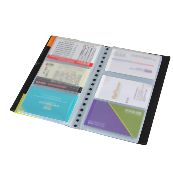 SOSW-120 Cards Holder Business Name ID Credit  Leather Card Holder Book Case Organizer Black