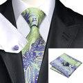 Mens Gravatas De Seda De Moda Roxo Yellowgreen Tie Paisley Gravata Lenço Abotoaduras Set Casamento Laços Para Os Homens de Negócios C-243