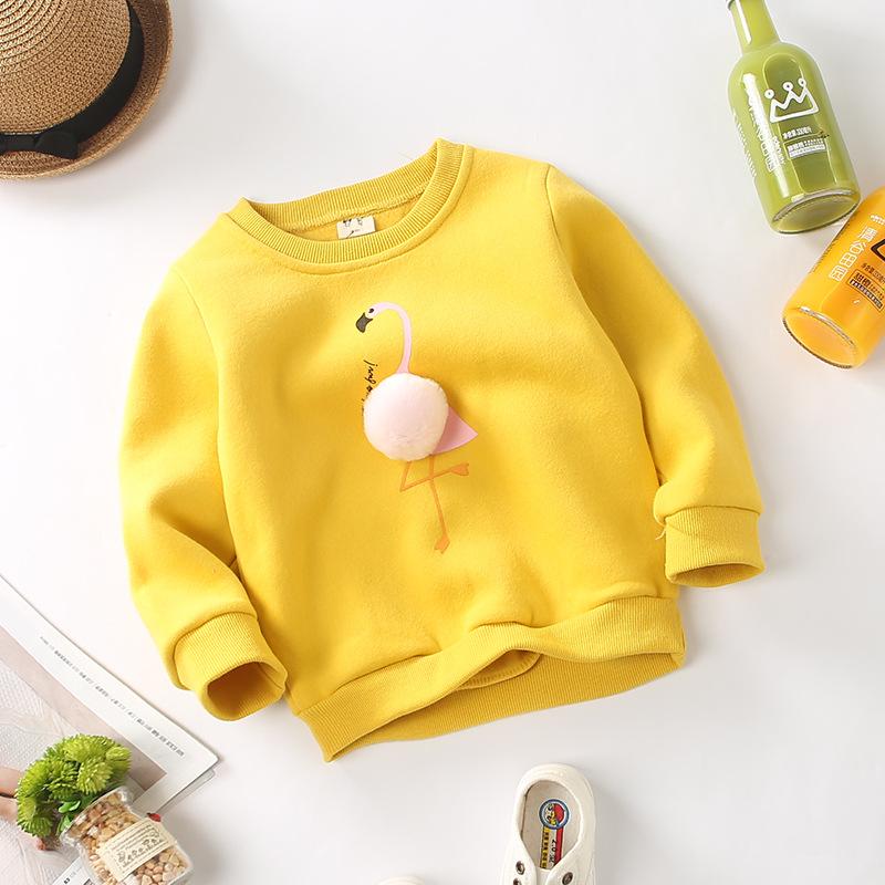 c89cb35e7 Baby Girls Pompom Flamingo Outwear Cotton Children Sweatshirt Infant ...