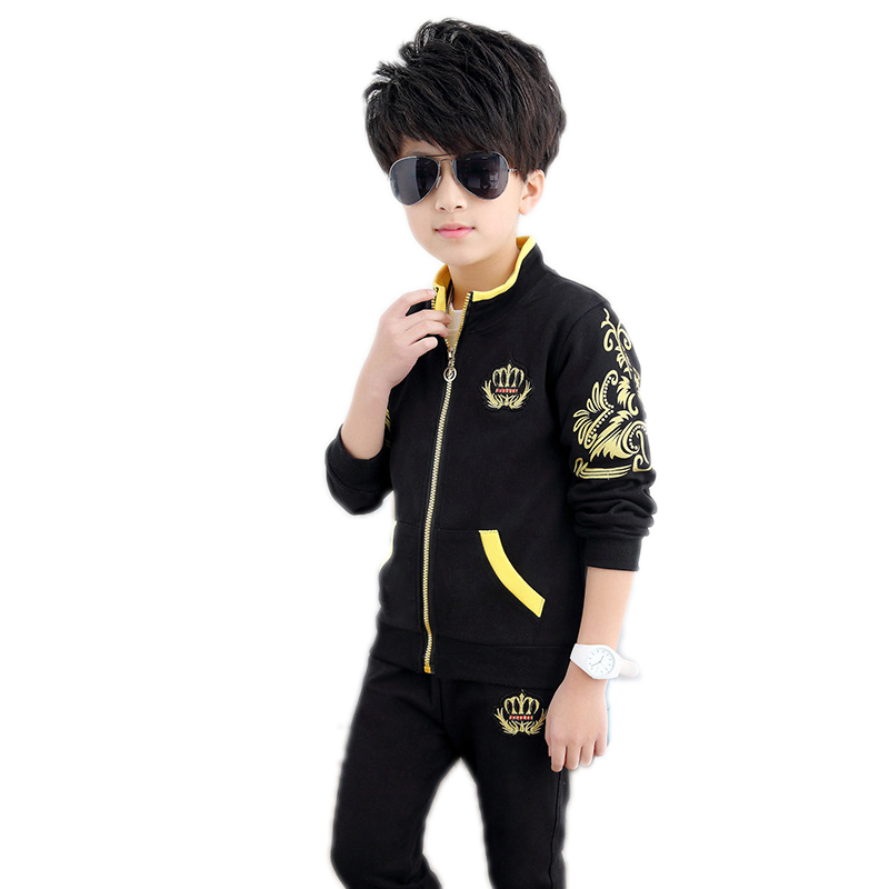 big boy clothes sets 2017 new fashion spring/autumn long sleeve boys tracksuit clothes sets crown printed top jackets+pants 5-9T 2017 new boys clothing set camouflage 3 9t boy sports suits kids clothes suit cotton boys tracksuit teenage costume long sleeve