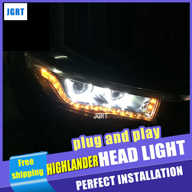 Car Styling for Toyota Highlander Headlights 2014-2015 New Kluger LED Headlight drl Lens Double Beam H7 HID Xenon hireno headlamp for 2011 2015 toyota fortuner headlight assembly led drl angel lens double beam hid xenon 2pcs
