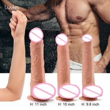 Luvkis 9 11 Inch Super Huge Dildo Realistic Penis with Suction Cup and Balls Dual layered