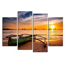 4 Pieces/set Sea Scenery With Beach Wall Art For Decor Home Decoration Picture Paint on Canvas Prints Painting XYZ-HX-071