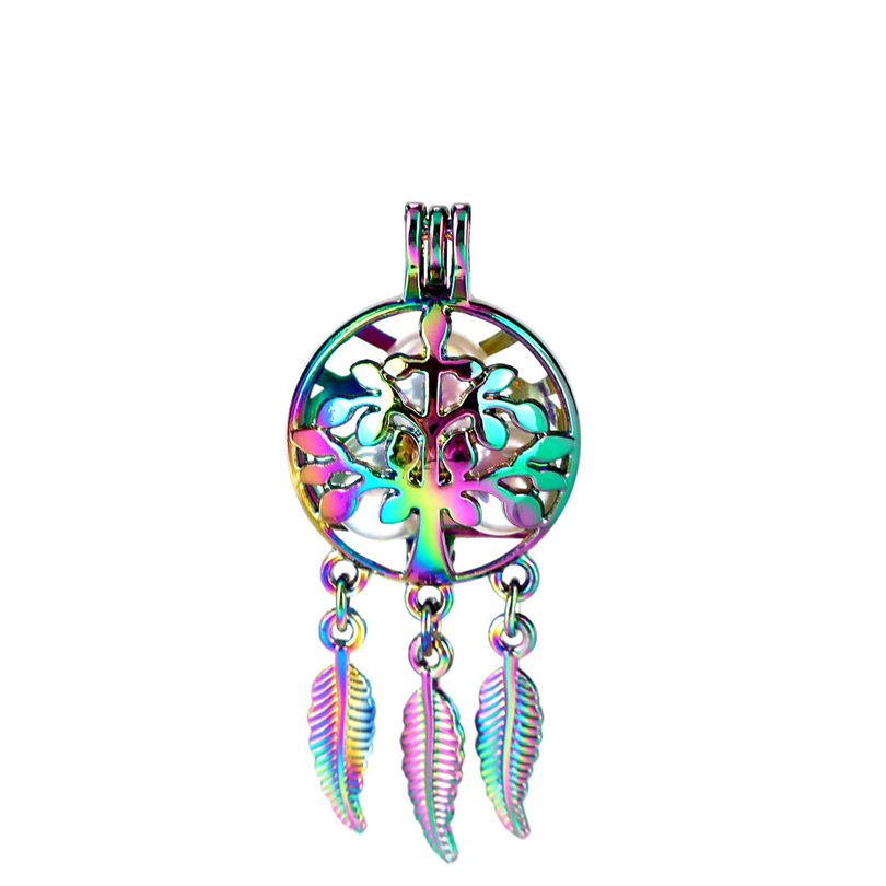 Pendants Jewelry & Accessories Special Section C888 5pcs/lot Rainbow Color Beaty Dream Catcher Tree Leaf Round Ball Leaf Cage Pendant Pearl Locket Fairytale Party