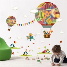 Купить с кэшбэком Colorful Hot Air Balloon Bear Giraffe Nursery Room wall sticker for Kids Rooms children 's room cartoon Wall Decals Mural