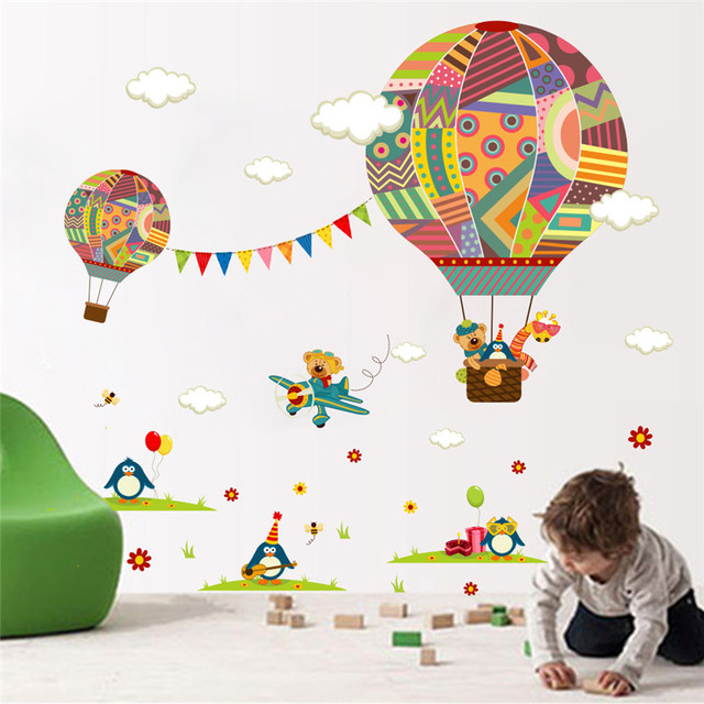 Colorful Hot Air Balloon Bear Giraffe Nursery Room wall sticker for Kids Rooms children 's room cartoon Wall Decals Mural