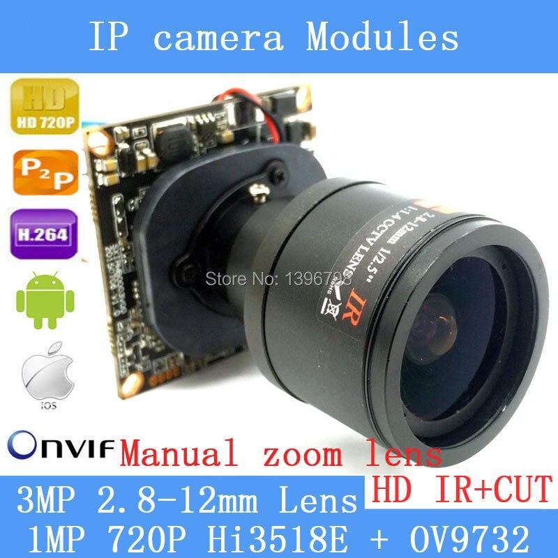 ФОТО 1280 * 720 1.0MP mini IP Camera ONVIF 2.0 2.8-12mm manual varifocal zoom lens P2P surveillance cameras