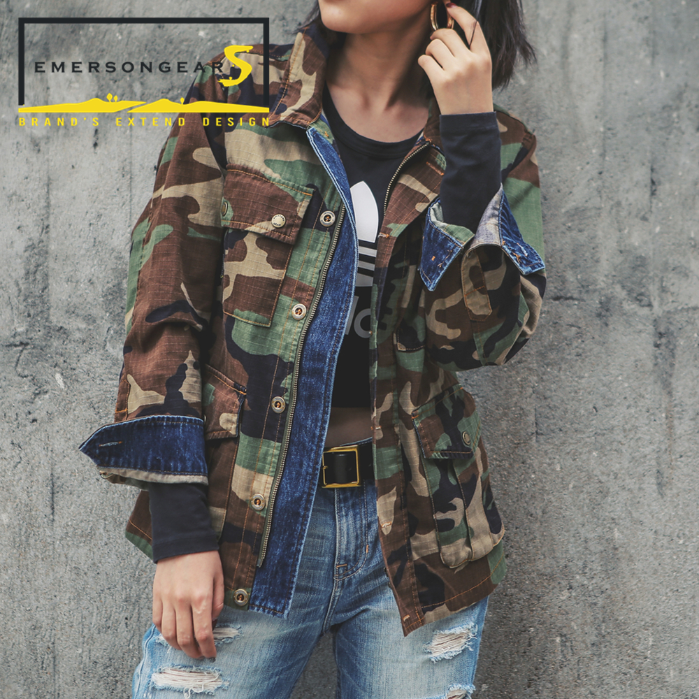 Emerson emersongearS Femmes Vintage Style EDR Veste Tactique Style Denim Couture Veste Woodland