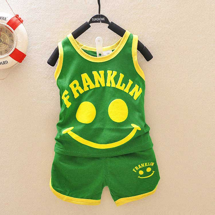 Summer Sleeveless baby smile print boys babi children kids vest t-shirt tops+shorts clothing sets suit  Two Piece PLUS015