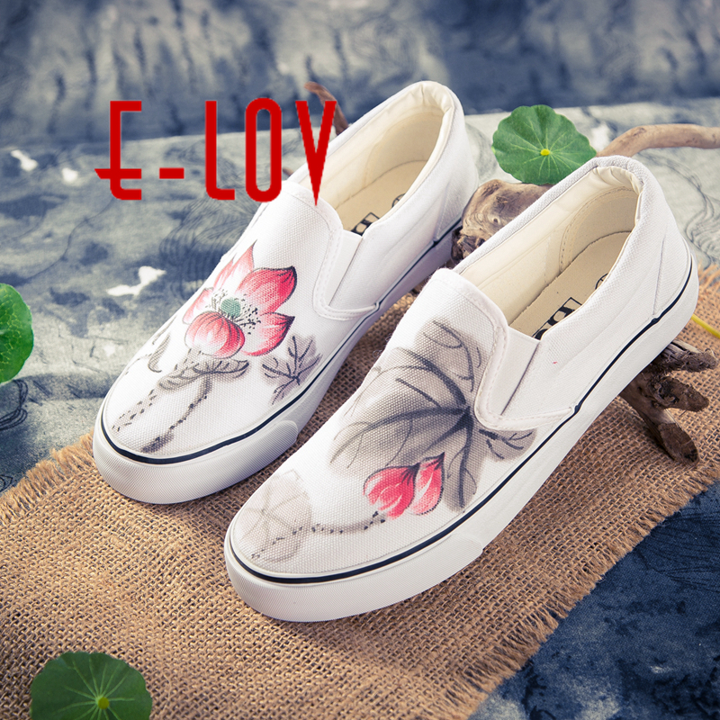 E-LOV Chinese Painting Unisex Designs Hand-Painted Canvas Shoes Personalized Men Adult Casual Shoes Customed Platform Shoes e lov fashion low top casual canvas shoes graffiti cats hand painted animal flat shoes for women espadrille