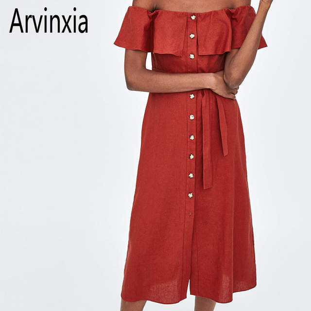 Sexy Solid Buttons Decorate Women Dress