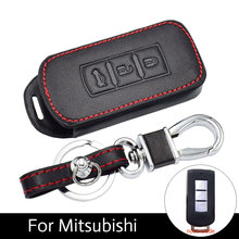 ATOBABI Car keychain Leather Key Cover Cases For Mitsubishi Outlander Lancer 10 Pajero Sport ASX RVR L200 3 Buttons Smart Key