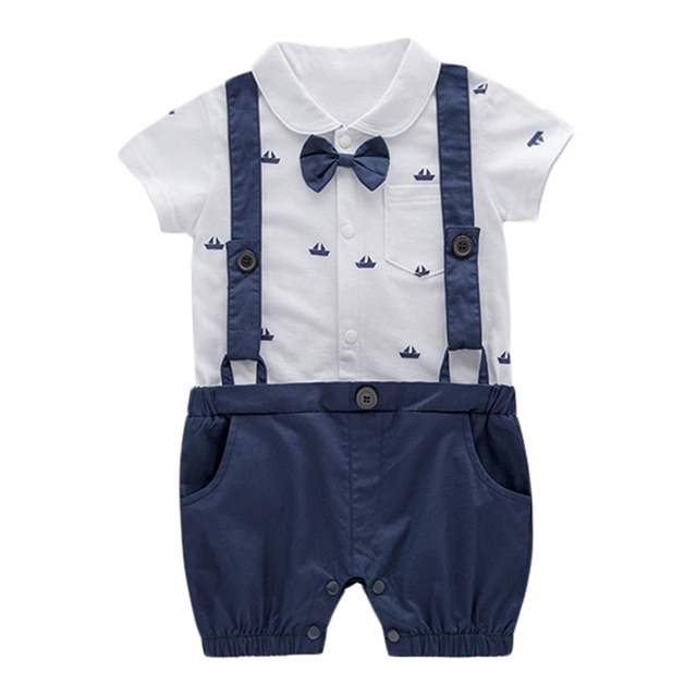 88253682aed6 Baby Boy Clothes Summer Short Sleeves Gentleman Bow Tie Strap ...